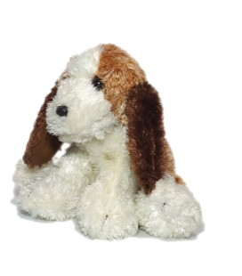 Doudou peluche chien blanc marron Ajena assis 20 cm