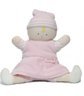 Doudou poupée Poupon Babypouce rose blanc rayures Corolle 2007 30 cm