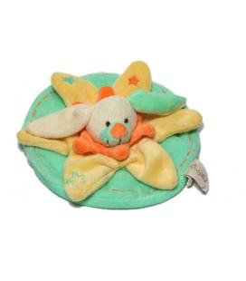 Doudou plat rond Lapin jaune vert étoiles Baby Nat