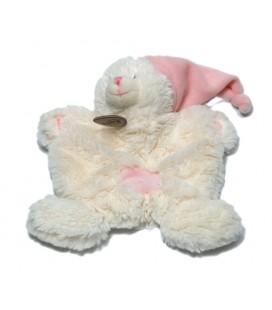 BABY NAT - Doudou plat Ours blanc bonnet croix rose