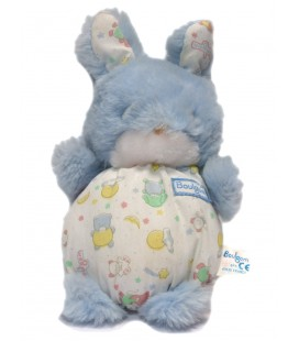 Peluche lapin bleu Boulgom 22 cm Grelot corps tissu Imprimé nounours