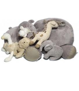 Doudou peluche Hippopotame gris et ses animaux JACADI 30 cm