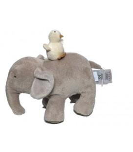 Doudou peluche musicale éléphant gris et oiseau sur le dos JACADI 18 cm
