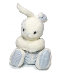 Ancien doudou peluche Lapin blanc bleu carreaux Jacadi 26 cm