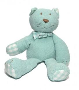 Doudou chat bleu vert Jacadi 28 cm