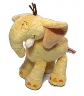 Doudou Peluche elephant jaune orange Orchestra 20 cm