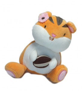 Doudou chat tigre orange blanc Orchestra 20 cm