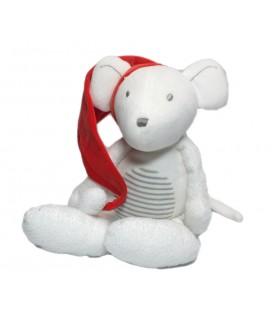 Doudou peluche Souris blanche bonnet rouge Orchestra 32 cm