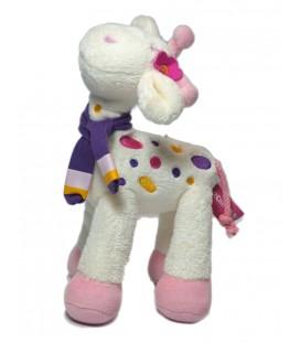 Doudou girafe blanche rose violet Orchestra 24 cm