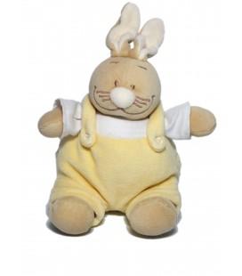 Noukies - Doudou Lapin jaune Salopette assis 20 cm Grelot