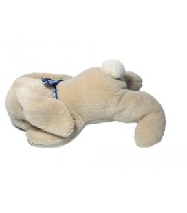 Noukies - Lapin beige allongé Ruban bleu vichy 25 cm