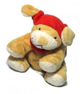 Doudou peluche chien marron foulard rouge Noukies assis 12 cm