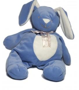 Noukies - Doudou Lapin bleu 35 cm Noeud satiné