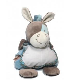 Doudou Peluche heval gris bleu Gaston et Cyril 40 cm Nattou