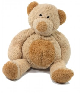 Doudou peluche Ours beige ventre marron Nicotoy 22 cm