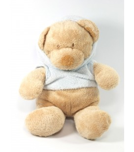 Doudou peluche Chien marron foulard rose 22 cm Nicotoy The classic Collection