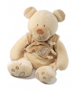 Doudou peluche Ours beige Bastien Gilet Lapin 35 cm Nicotoy 579/4020