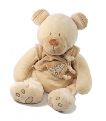 Doudou peluche Ours beige Bastien Gilet Lapin 35 cm Nicotoy 579 4020 9c540308fc4