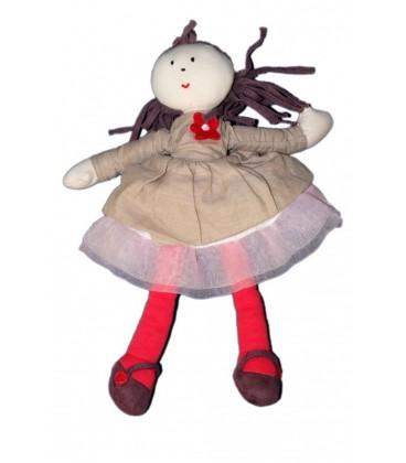 Doudou Peluche Poupée Fille JaCaDI - Tissu chiffon - 26 cm - Rose gris Bordeau