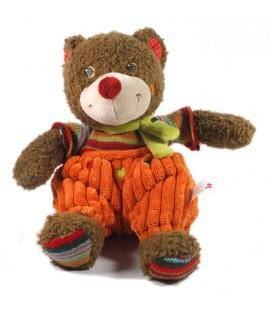 Nicotoy Doudou peluche ours marron nez rouge salopette orange 26 cm 579/1422