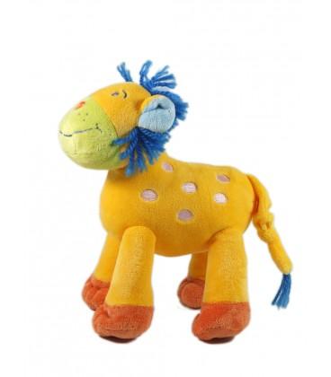 Nicotoy Doudou Lion jaune crinière laine bleue 18 cm