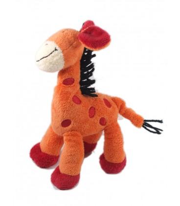 Peluche doudou Girafe orange rouge Crinière noire - Nicotoy The Baby Collection - 26 cm