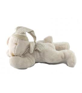 Doudou peluche ours beige Maxita allongé 25 cm Bonnet écharpe rayé rayures