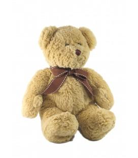 Doudou peluche Ours beige noeud ruban marron Maxita 28 cm