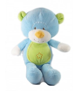 Doudou peluche Ours bleu vert étoile Maxita 28 cm