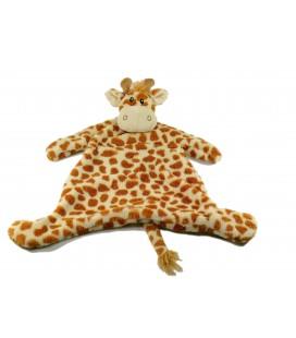 Doudou plat Girafe marron beige KIMBALOO La Halle 38 cm Losange
