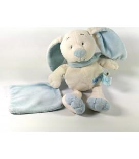 BABY NAT - Doudou Lapin chien blanc bleu Mouchoir 26 cm BN778 Patin douceur