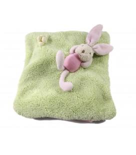 Doudou Sac à grain Bouillotte Lapin rose vert 18 cm