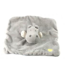 Doudou plat Hippopotame Obaibi gris Pour t'apprendre la tendresse