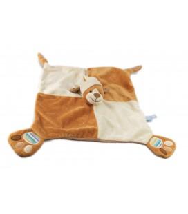 Doudou plat chien marron beige Gipsy empreintes pattes