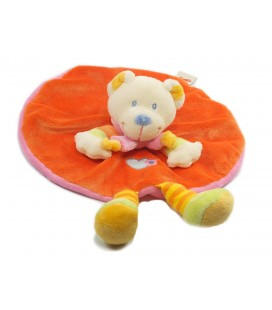 Doudou plat rond OURS orange NICOTOY coeur echarpe rose