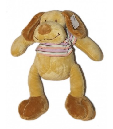 Doudou peluche CHIEN beige marron pull rayé MaXITa - 36 cm