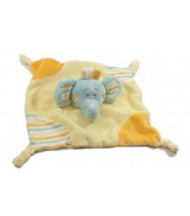 Doudou plat éléphant bleu jaune orange Kimbaloo La Halle
