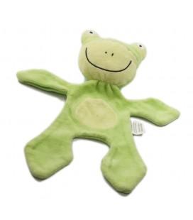 Doudou plat grenouille verte rond ventre grand sourire Babou