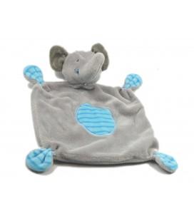 Doudou plat elephant gris bleu rayures GEMO
