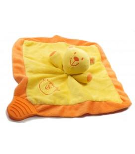 Doudou Plat hochet grelot Ours jaune et orange BRUIN