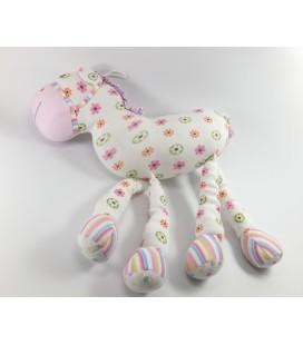 Doudou Peluche tissu cheval Maxita fleurs Grelot 35 cm