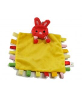 Doudou plat chat rouge jaune étiquettes Editions Tourbillons