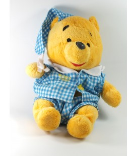 Doudou peluche Winnie Pyjama bleu blanc carreaux Vichey Disney Nicotoy 28 cm