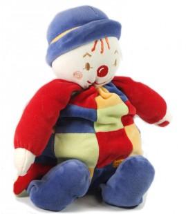 Doudou Peluche Clown bleu rouge carreaux Sucre d'Orge 32 cm