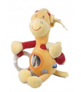 Doudou Peluche Girafe orange Sucre d'Orge Grelot Perroquet Toucan 30 cm