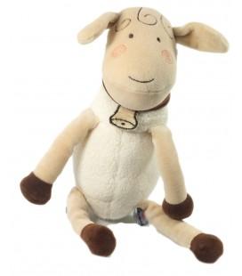 Doudou Mouton blanc beige marron 26 cm Sucre d'Orge