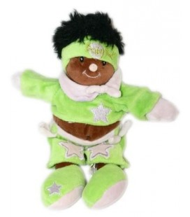 Doudou Fille noire métisse vert mauve étoile Baby Nat 24 cm