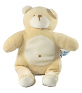 Doudou ours blanc beige 25 cm Sucre d'Orge