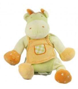Doudou Hippopotame vert tablier orange rayures Sucre d'Orge 28 cm