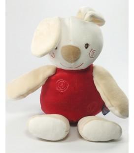 Doudou Lapin blanc beige rouge 32 cm Sucre d'Orge